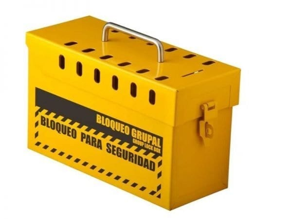 caja de bloqueo amarilla, se utiliza para trabajar en grupos o cuadrillas para las empresas que hacen diferentes servicios en otras empresas como las mineras