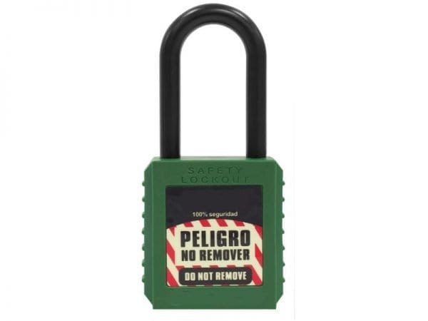 Candado dieléctrico, se usa para bloqueo en equipos para la seguridad de los trabajadores que están involucrados en las maquinas