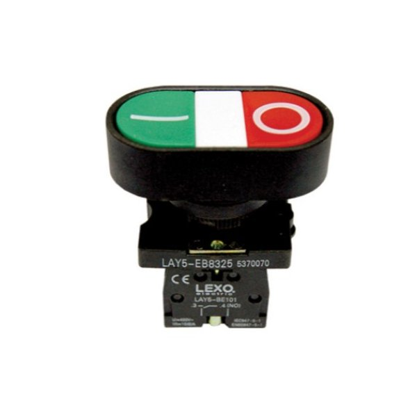 Pulsador doble 22mm., verde/rojo, 1NO+1NC